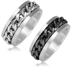 $9.99 - Stainless Steel or Black Stainless Steel Chain Link Design Men's Ring