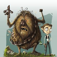 Chewie and Han by Singapore-based artist Keh Choon Wee - inspired by the dark quirky art style of Tim Burton films.