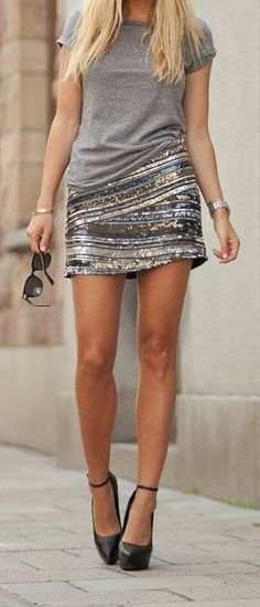Street Trends, Mini skirt, gray shirt woman