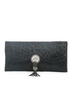 Black beaded clutch with stones and diamonds. Item number B15-10