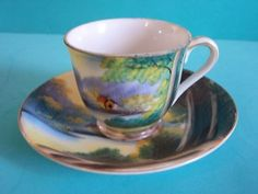 Antique Cup And Saucer Set, Hand Painted Made In Japan