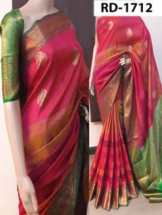 Buy online pink colour designer heavy silk saree at joshindia - Sarees