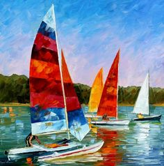 """""""Catamaran"""" by Leonid Afremov ___________________________ Click on the image to buy this painting ___________________________ #art #painting #afremov #wallart #walldecor #fineart #beautiful #homedecor #design"""