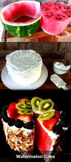 Watermelon cake idea What fun!  This would be awesome for Fourth of July or April fools :)