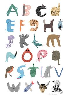 """min-pin: """" New! It's Min Pin's ABC of Animals! Part of the Pet Shop collection, Min Pin's ABC of Animals print displays each letter of the alphabet, each one made up of an animals that starts with. Animal Alphabet, Alphabet Art, Alphabet Nursery, Nursery Wall Art, Alfabeto Animal, Art Mots, Poster 70x100, Gold Poster, Animal Posters"""