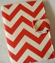 Fabric Notebook Organizer with Pockets, Pad, and Pen, Red Chevron