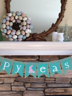 Burlap Easter banner/Happy Easter garland/ Hand painted Easter banner you can hang for Spring