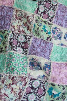Crib Rag Quilt Baby Girl Crib Bedding Purple Aqua by justluved, $118.95