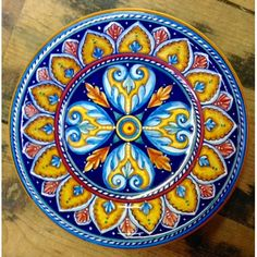 "Bonechi Imports - Antico Geometrico 10"" Footed Dish - Italian pottery handmade in Deruta"