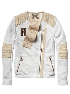 Biker sweat jacket with woven details - grey melange - 6