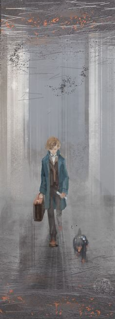 Just want to draw a picture about Newt and Niffler~ 'Fantastic Beasts and Where to Find Them' Arte Do Harry Potter, Harry Potter Universal, Harry Potter Fandom, Harry Potter World, Fantastic Beasts Fanart, Fantastic Beasts And Where, Eddie Redmayne, Hogwarts, Desenhos Harry Potter