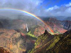 "Tae Woo Lee on Instagram: ""Mahalo Kauai 🤙🏽 . . . . #kauai #hawaii #rainbow #waimeacanyon #adventure #travel #waterfall #mahalo"" All Is Lost, Waimea Canyon, Kauai Hawaii, Rainbows, Adventure Travel, Grand Canyon, Waterfall, Clouds, Instagram"
