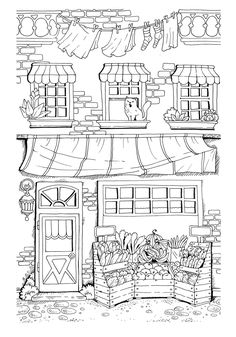 Nice Little Town (Adult Coloring Book, PDF, Digital Pages, For Stress Relieving, Relaxation) Coloring Book Pages, Coloring Sheets, House Colouring Pages, Illustration Photo, Garden Illustration, Buch Design, House Drawing, Printable Coloring, Free Coloring
