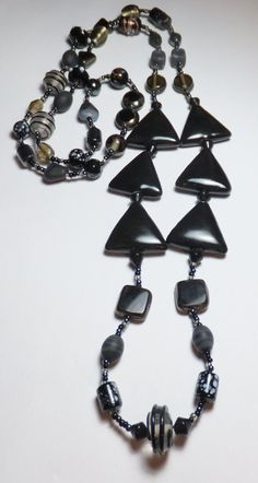 Black Porcelain Triangles with Black Glass Beadwork by tzteja, $22.00