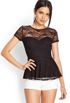Floral Lace Peplum Top | FOREVER21 #Lace #SummerForever #Peplum
