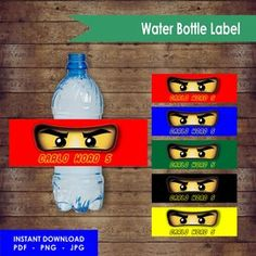 Editable Ninjago Water Label DesignYou will receive this product by e-mail and may edit itSize: x cmPDF- JPEG-PNG file