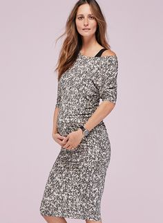 Giana Off the Shoulder Maternity Dress in [colour] at Isabella Oliver. Shop our maternity collection today for stylish, quality clothes to fit perfectly and flatter your bump.