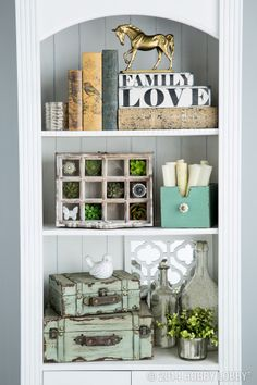 Transform a boring bookcase into well-styled shelves!