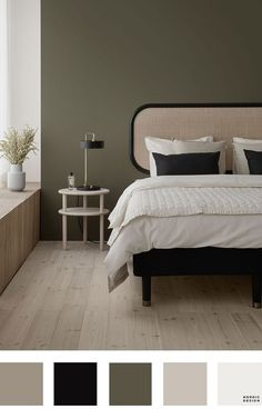 5 Beautiful and Totally Workable Color Palettes for Your Bedroom. 5 Beautiful and Totally Workable Color Palettes for Your Bedroom. good starting point for your future bedroom makeover! Modern Bedroom, Home Bedroom, Bedroom Interior, Bedroom Vintage, Bedroom Decor, Bedroom Green, Small Bedroom, Bedroom Color Schemes, Bedroom Colors