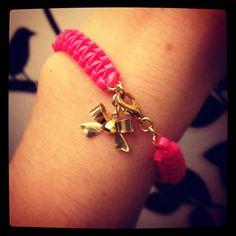 gimp + bow charm  #DIY #bracelet