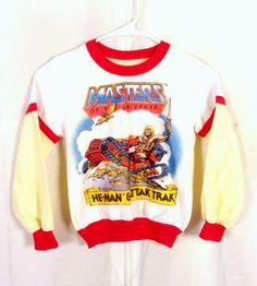 8712b06f85 vtg 80s rare Original 1983 MOTU He-Man   Attak Trak Sweatshirt ringer Youth  S