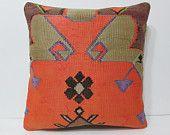 kilim pillow 24x24 orange kilim pillow orange throw pillow orange pillow cover orange pillow case orange decorative pillow orange rug 22747