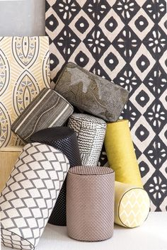 Spectacular design embroidered on linen, evoking tribal masks and shields. Pierre Frey Fabric, Surf Decor, Custom Carpet, Checkerboard Pattern, Color Harmony, Cushions, Pillows, Geometric Wall, Grey Yellow