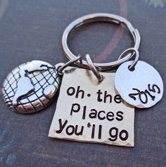 Oh The Places You'll Go Personalized Graduation Keychain - School Student Grad High School College Gift - K68 by DesertRainJewelry on Etsy