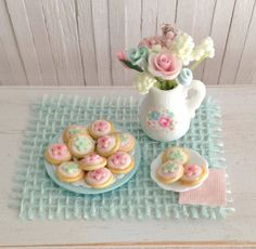 Miniature Sugar Cookies With Pink And Blue by LittleThingsByAnna