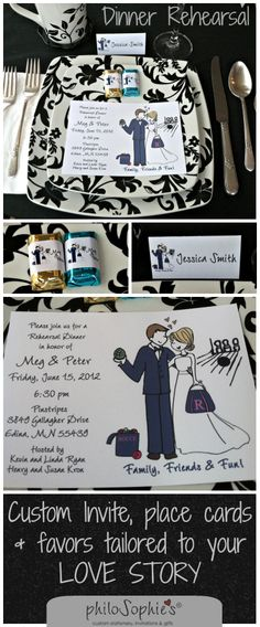 cute rehearsal dinner invites with custom illustration of the bride and groom. matching favor and place cards too! www.celebratewithsophies.com