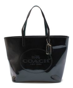 Another great find on #zulily! Black Metro Patent Leather Tote by Coach #zulilyfinds