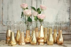 Rose Gold vases, gold wedding decor, Set of 12 gold dipped vintage vases and, gold painted vase, wedding table decor
