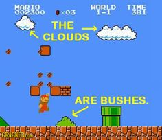 The clouds are bushes.