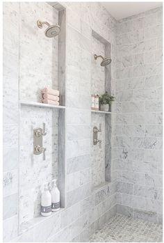 Bathroom walk in shower goals. Built in recessed shelves. Home design decor inspiration ideas. Shower Niche, Master Shower, Shower Bathroom, Dyi Bathroom, Bathroom Mirrors, Dream Bathrooms, Beautiful Bathrooms, Master Bathrooms, Chic Bathrooms