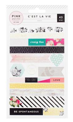 Pink Paislee-C'est La Vie Washi Shape Stickers with Gold Foil. Ideal for…