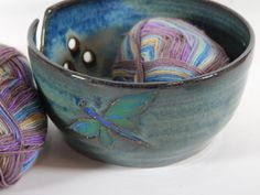 Large Pottery Yarn Bowl Knitting Crochet by CenterHillClayWorks, $38.00