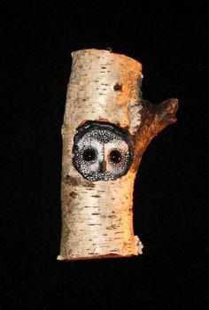 Wood Bird Carving Owl Art. $45.00, via Etsy.