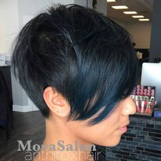 """""""* Switch Fringe Pixie ... by @anthiroxhair with @wellahair color @wellaeducation #pixie #behindthechair"""""""