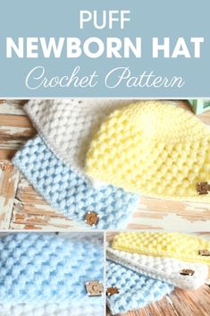 This Puff Newborn Hat is a great pattern that will work up fast and easy with a puff stitch and doub&; This Puff Newborn Hat is a great pattern that will work up fast and easy with a puff stitch and […] Clothing Newborn free pattern Crochet Baby Hat Patterns, Crochet Baby Beanie, Crochet Bebe, Crochet Baby Clothes, Baby Blanket Crochet, Crochet Hats, Double Crochet, Sewing Patterns, Free Crochet