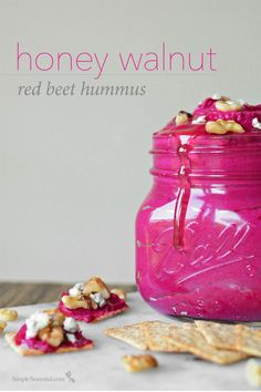Honey Walnut Red Beet Hummus - Because not all treats need to be unhealthy! The sweet and nutty flavors of the honey and walnuts help tame the red beets in this tasty hummus that goes great with wheat crackers and blue cheese.