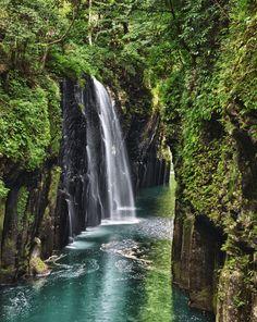 Takachiho Gorge Minainotaki Waterfall Gokase River Miyazaki Prefecture Mt Aso Kyushu Japan