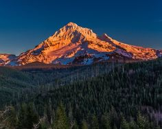 Mount Hood Sunset. Fine Art Oregon Photography Print for Home Decor Wall Art. Mount Hood at sunset viewed from Lolo Pass. The last rays of sunset painted the snow purple as the sky fades to dark blue. ~~ SELECT DESIRED SIZE USING THE OPTIONS BUTTON ABOVE ADD TO CART. Available in: 5x7, 8x10, 11x14, 12x18, 16x20, 20x30, 24x36 prints.