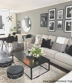 The living room is the principal gathering area and thus the highlight of every home. To earn a little living room feel bigger, consider using the advice below. The secret to making the most out of a little living room… Continue Reading → Living Room Decor Cozy, Living Room Grey, Home And Living, Cozy Living, Black Living Room Furniture, Modern Small Living Room, Black White And Grey Living Room, Decorating Ideas For The Home Living Room, Decor Room