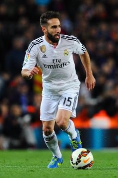 Daniel Carvajal of Real Madrid CF runs with the ball during the La Liga match Between FC Barcelona and Real Madrid CF at Camp Nou on March 22, 2015 in Barcelona, Catalonia.