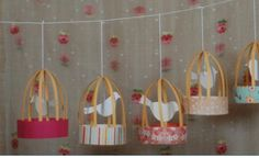 """DIY - Bird Cage Lanterns - For those who are thinking """"love birds"""" or just use these as a jumping off point for some inspiration of your own Kids Crafts, Cute Crafts, Craft Projects, Craft Ideas, Diy Bird Cage, Bird Cages, Diy Paper, Paper Crafts, Diys"""