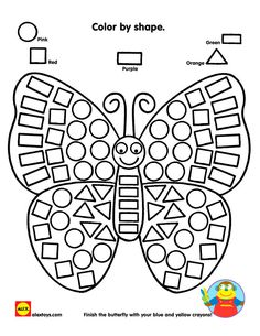 Practice identifying shapes while coloring in a beautiful butterfly printable! Looking for more opportunities to work with shapes? Check out our Alex Toys Ready Preschool Learning, Kindergarten Worksheets, Learning Activities, Preschool Activities, Alex Toys, Math Centers, Coloring Pages, Coloring Worksheets, Barn