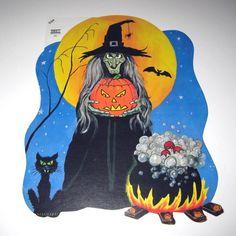 Vintage Witch and Cauldron Halloween Die Cut by grandmothersattic, $6.95