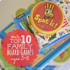 Family Game Nights:  Top 10 Family Board Games. Awesome review of ten wonderful family games that are fun for kids AND adults. Includes details on each games with ratings by both kids & parents. Such a great resource!