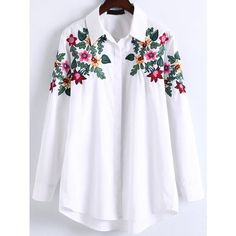 White Floral Embroidery High Low Blouse (438.350 IDR) ❤ liked on Polyvore featuring tops, blouses, floral tops, white floral blouse, flower print blouse, long length tops and white blouses