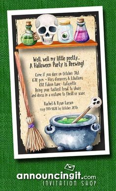 Potions, skulls, eyeballs in jars, boiling cauldron and witch's broom, the Witch's Workroom invitations are perfect for Halloween party invitations or Halloween birthday invitations for creatures of all ages. Fairy Halloween Costumes, Halloween Kids, Happy Halloween, Halloween Decorations, Halloween Birthday Invitations, Unique Invitations, Invites, Cauldron, Skulls